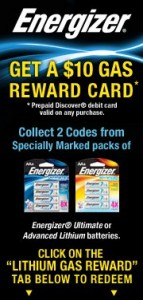 Energizer reward card