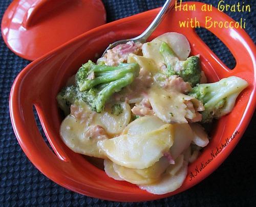 Ham-Au-Gratin-potatoes-broccoli