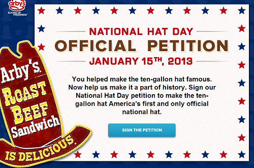 Arbys National Hat Day
