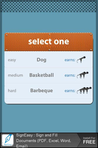Listen Up lite app word choices