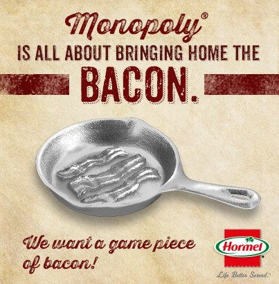 Hormel Monopoly Save the Token write-in bacon