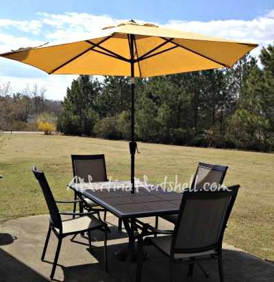 patio set and umbrella