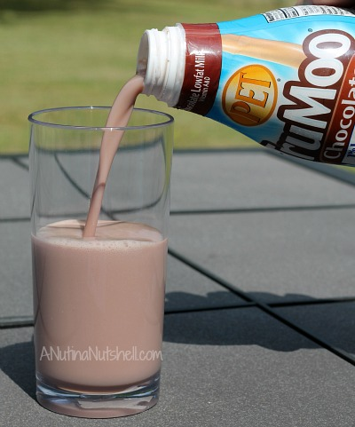 glass of TruMoo chocolate milk