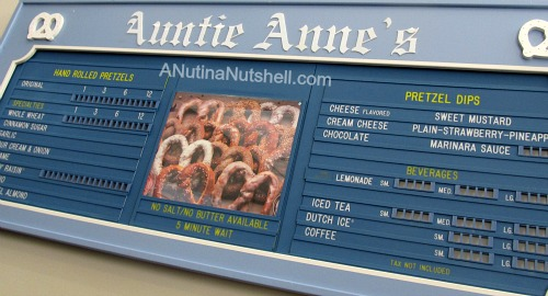 Auntie Anne's Pretzels history - first menu board