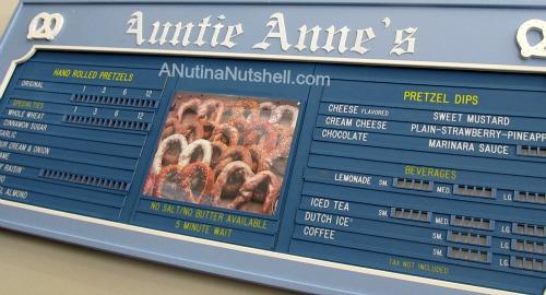 Auntie Anne's Pretzels history - first menu board