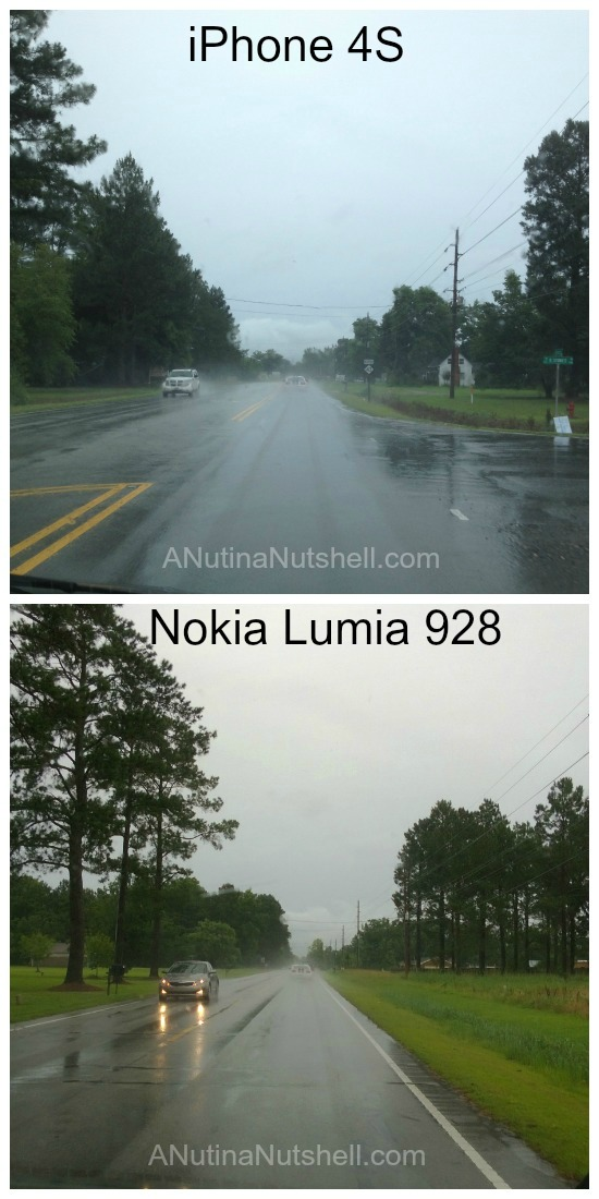 rainy day drive camera compare iphone vs Nokia lumia 928