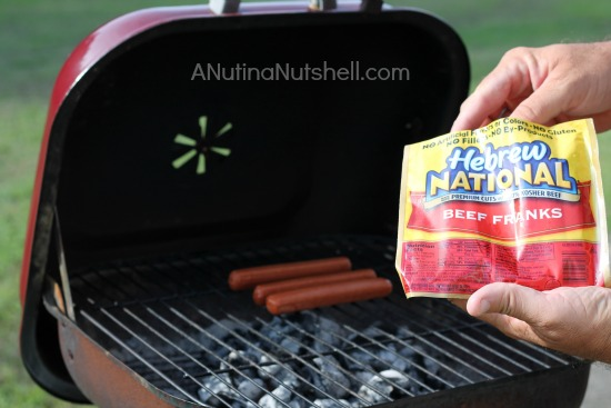 Hebrew National beef franks on grill