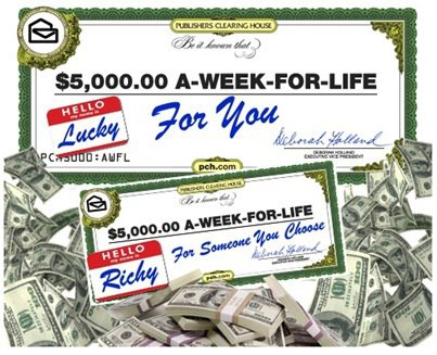 """Publishers-Clearing-House-$5000-A-Week-""""Forever""""-Prize-Sweepstakes"""