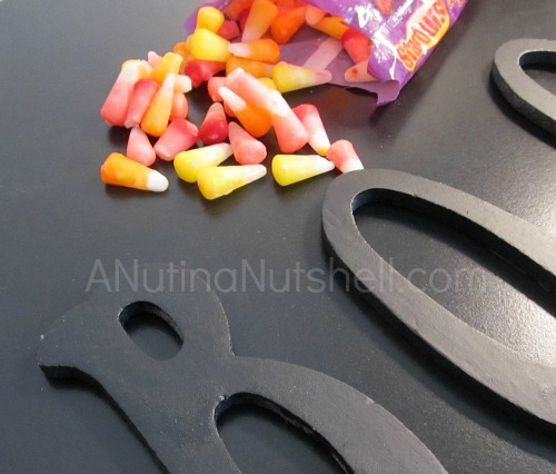 BOO letters - Starburst candy corn
