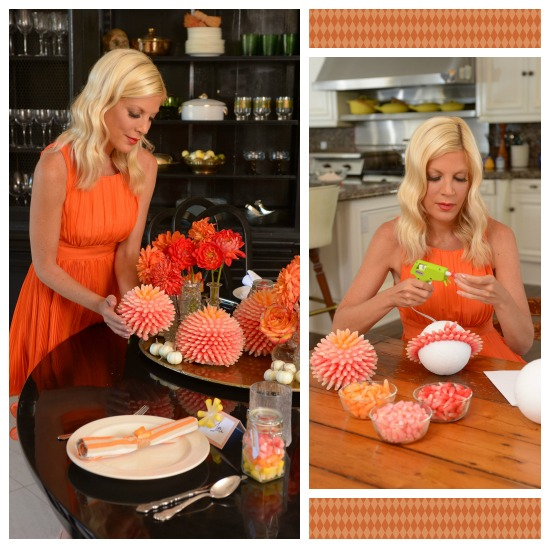 Tori Spelling - crafting mum ball with Starburst candy