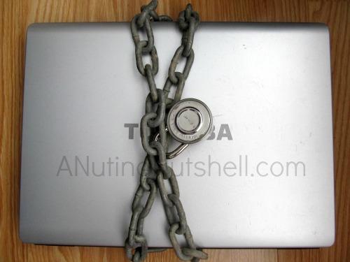 padlock on laptop - online security