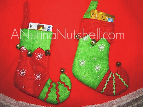 Personal Creations Jingle Bell mini stocking gift card holder