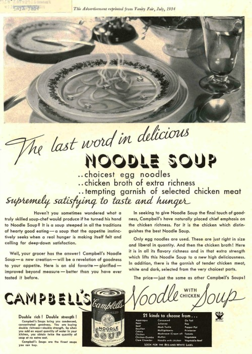 1934 Campbell's Noodle Soup Print Ad