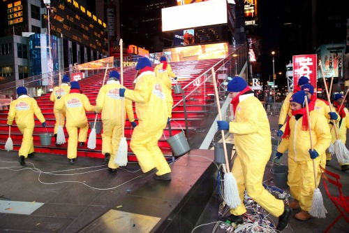 Mr. Clean New Year's Day clean-up NYC Times Square