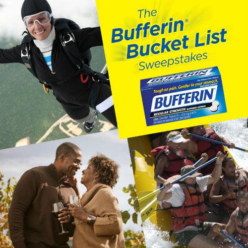 Bufferin Bucket List Sweepstakes