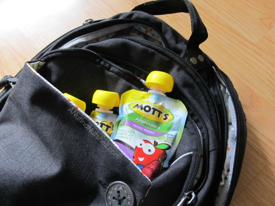 Mott's Snack and Go in backpack