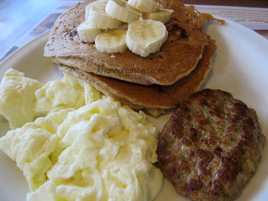 Denny's Fit Fare Banana Pecan Pancake Breakfast
