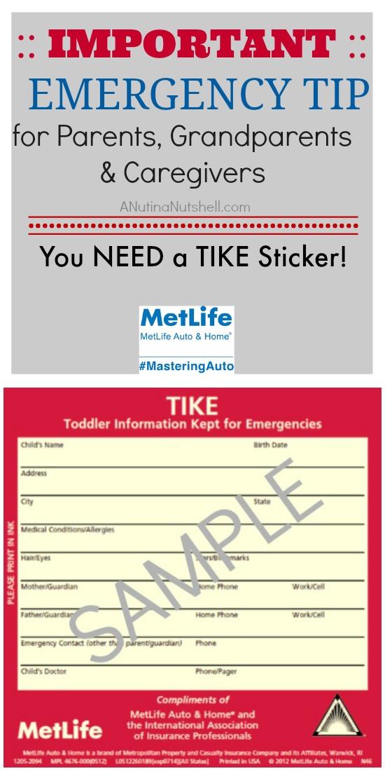 TIKE Sticker road emergency tip