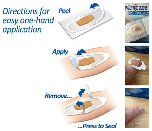 how to put on Nexcare waterproof bandages