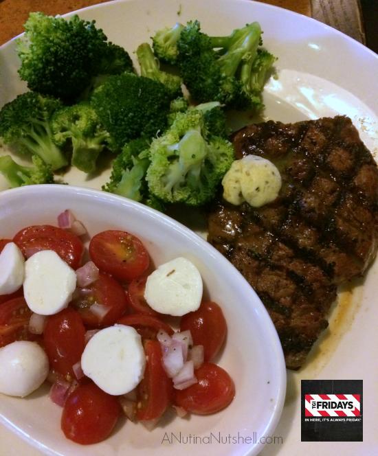 TGI Fridays Sirloin Steak, fresh broccoli, tomato mozzarella salad