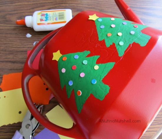making a Christmas tree watering can