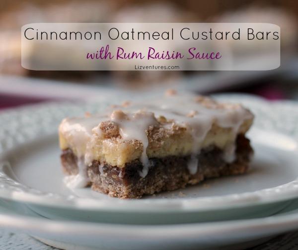 Cinnamon Oatmeal Custard Bars with Rum Raisin Sauce