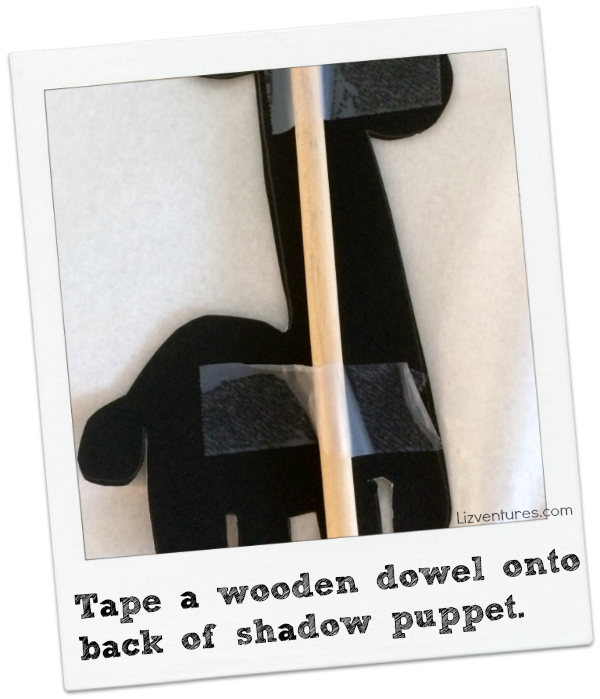 how to make animal shadow puppets - fasten dowel on back for support