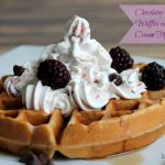 Chocolate Marshmallow Waffles with Raspberry Cream Topping