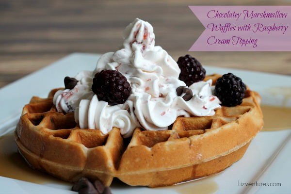 Chocolatey Marshmallow Waffles with Raspberry Cream Topping recipe
