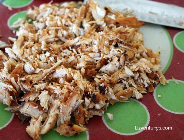 chicken tacos - shredded chicken with taco seasoning