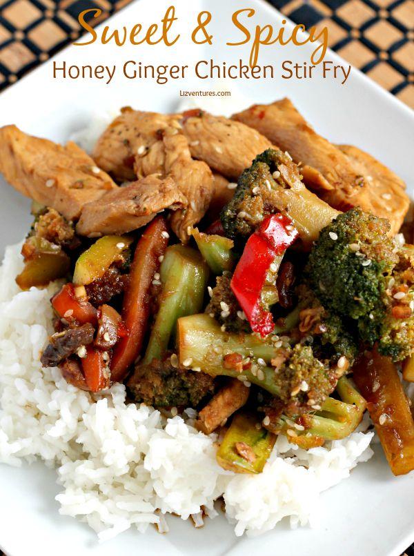 Sweet and Spicy Honey Ginger Chicken Stir Fry | Lizventures