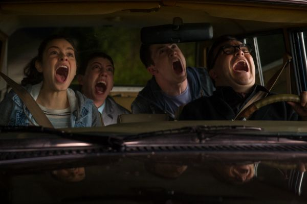 "L-r, Odeya Rush, Ryan Lee, Dylan Minette and Jack Black star in Columbia Pictures' ""Goosebumps."""