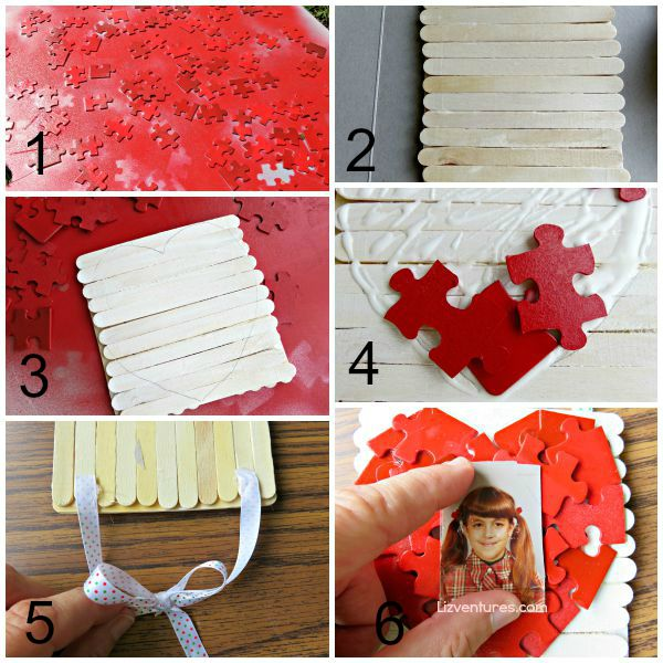 I love you to pieces photo frame tutorial - Grandparents Day crafts