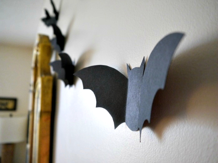Halloween bat flock side view