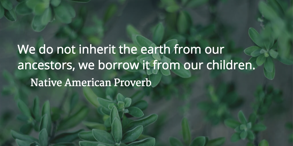 """""""We do not inherit the earth from our ancestors, we borrow it from our children."""" -Native American Proverb 
