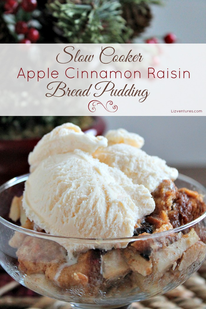 Slow Cooker Apple Cinnamon Raisin Bread Pudding