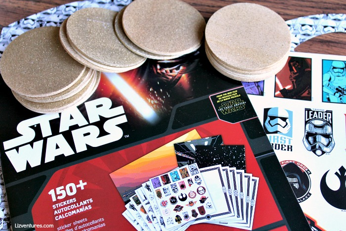 spray painted discs and Star Wars stickers