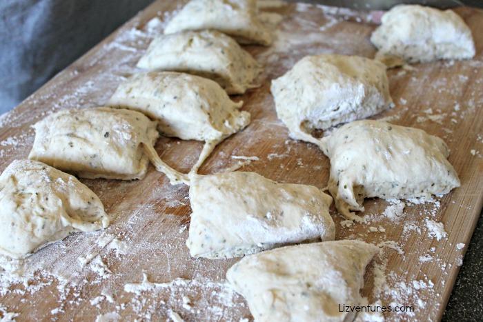 Divide flatbread dough into equal portions