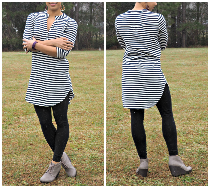 Golden Tote Striped Tunic