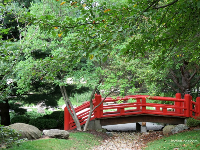 Shiojiri Niwa Japanese Gardens - red bridge - Mishawaka, Indiana