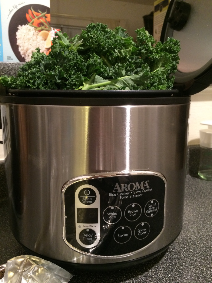 Steam kale in rice cooker