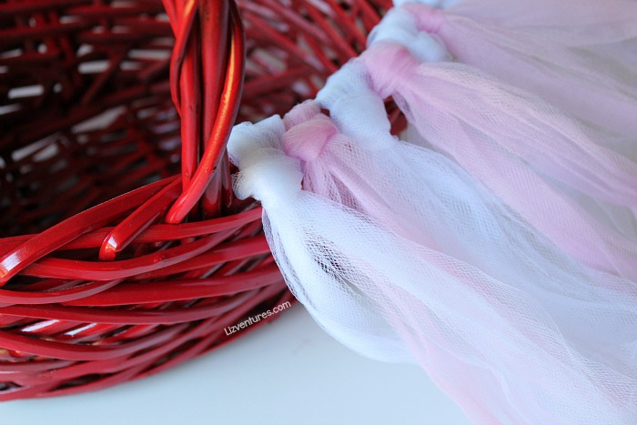 decorate valentine's day basket with tulle strips