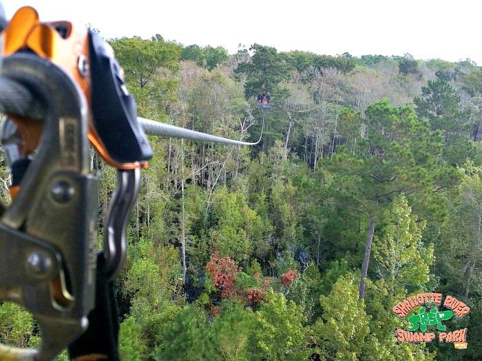 zipline canopy tour cable - Shallotte River Swamp Park