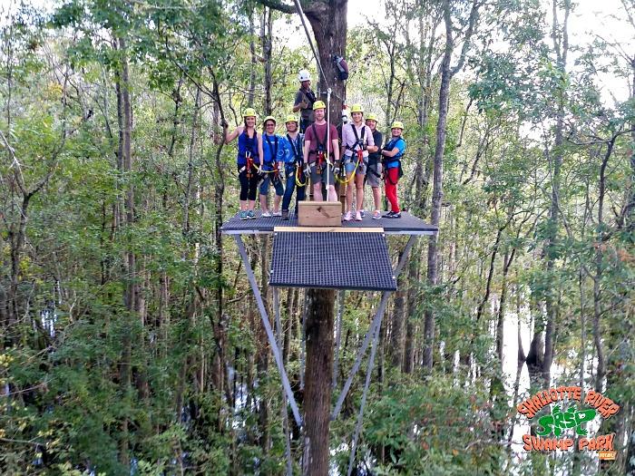 zipline station - Shallotte River Swamp Park