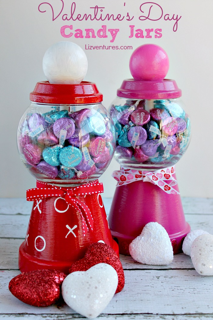 I love Valentine's Day crafts for adults, so I made this DIY Valentine's Day Candy Jars tutorial. A sweet and delicious Valentine's Day gift for friends, for boyfriends,  for kids or for yourself. It may become one of your favorite and yummiest Valentine's Day decorations!