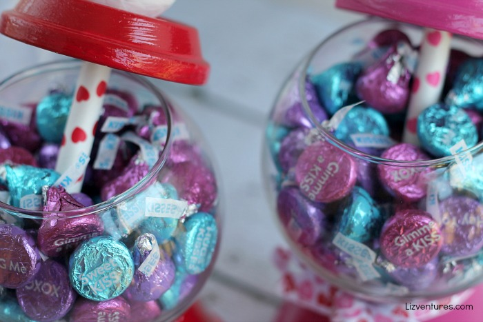Valentine's Day candy jars filled with kisses