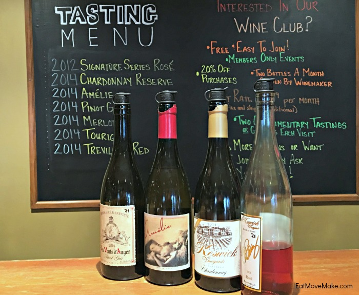 Keswick Vineyards Tasting Menu