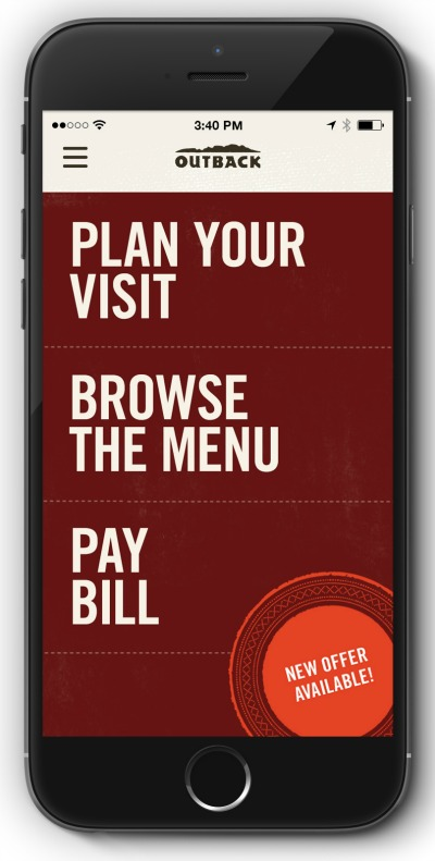Outback Steakhouse app home screen