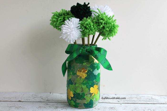 St. Patrick's Day craft - pom pom flower vase
