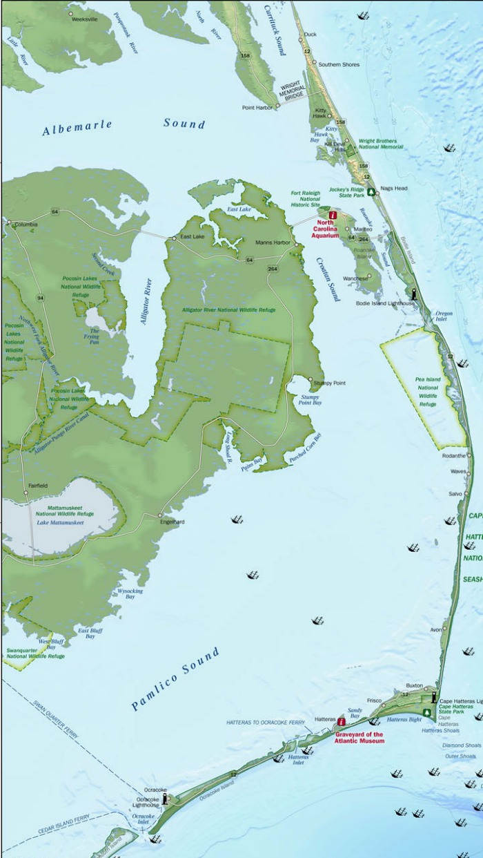 Map Of Outer Banks Nc HolidayMapQ.com ~ UsedMap